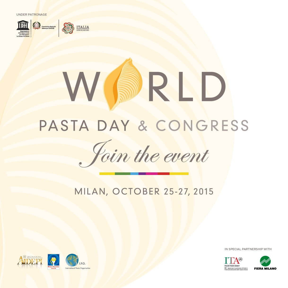 World Pasta Day & Congress 2015 – Join us to celebrate the Queen of the Mediterranean Diet !
